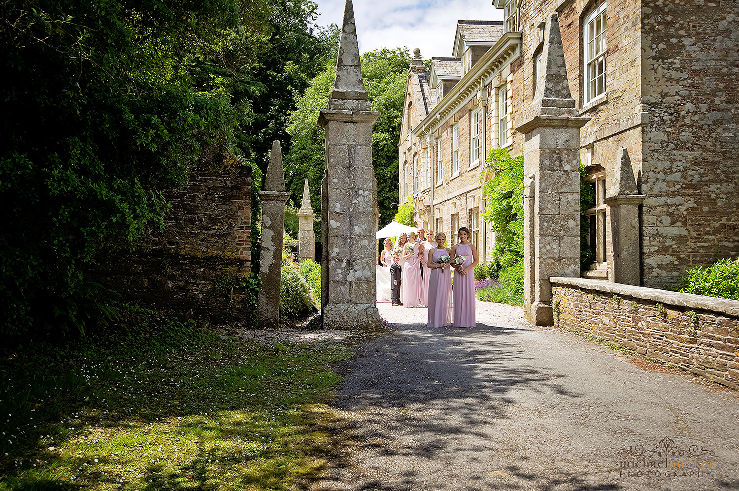 bridal-party-outside-langdon-court-in-devon