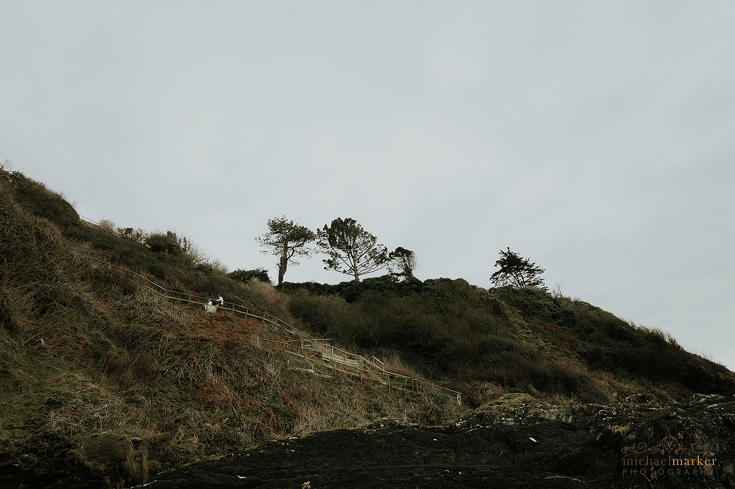 Walking up the cliff path at Polhawn fort in Cornwall