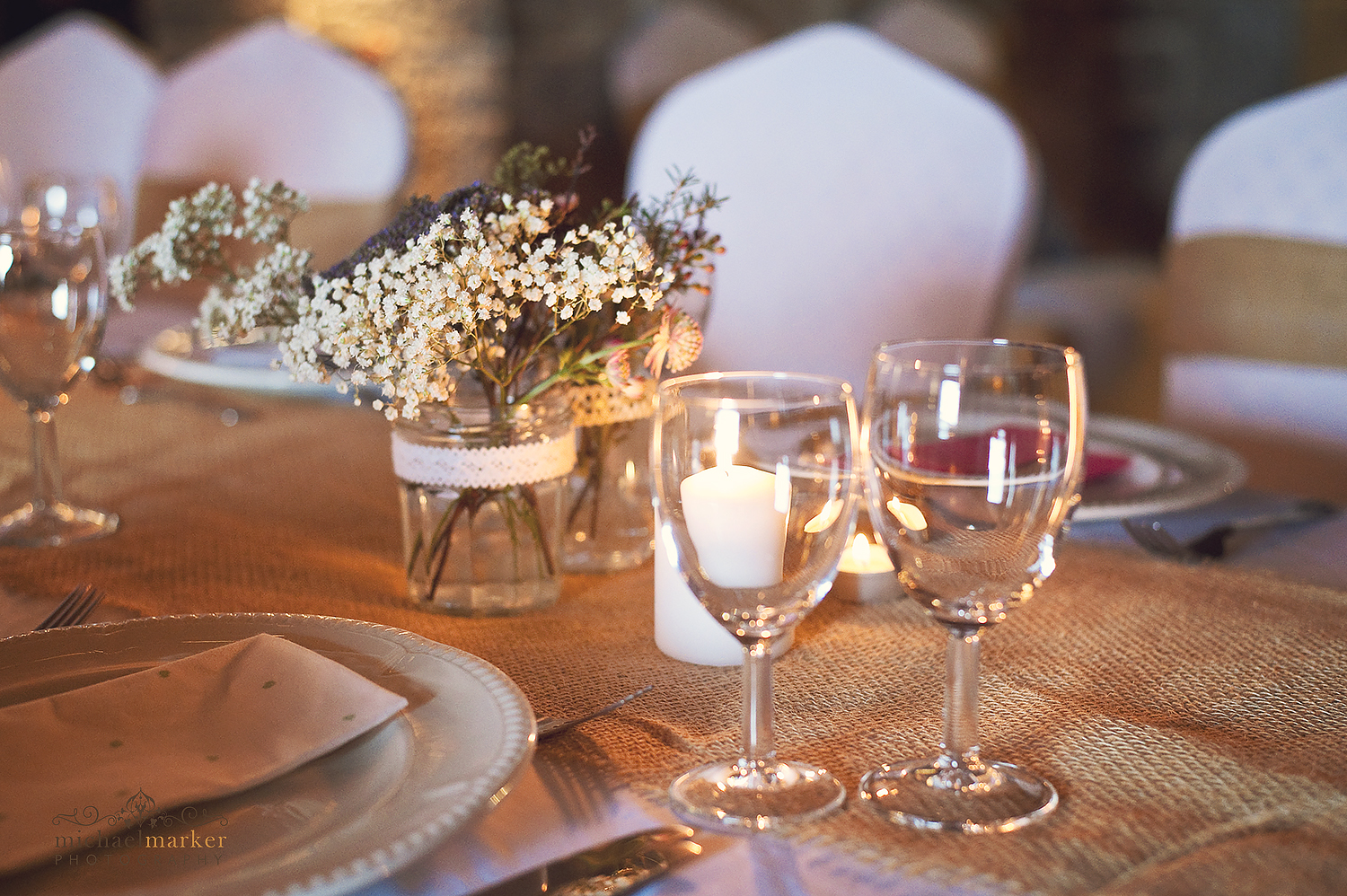 wedding place setting and glasses at polhawn fort