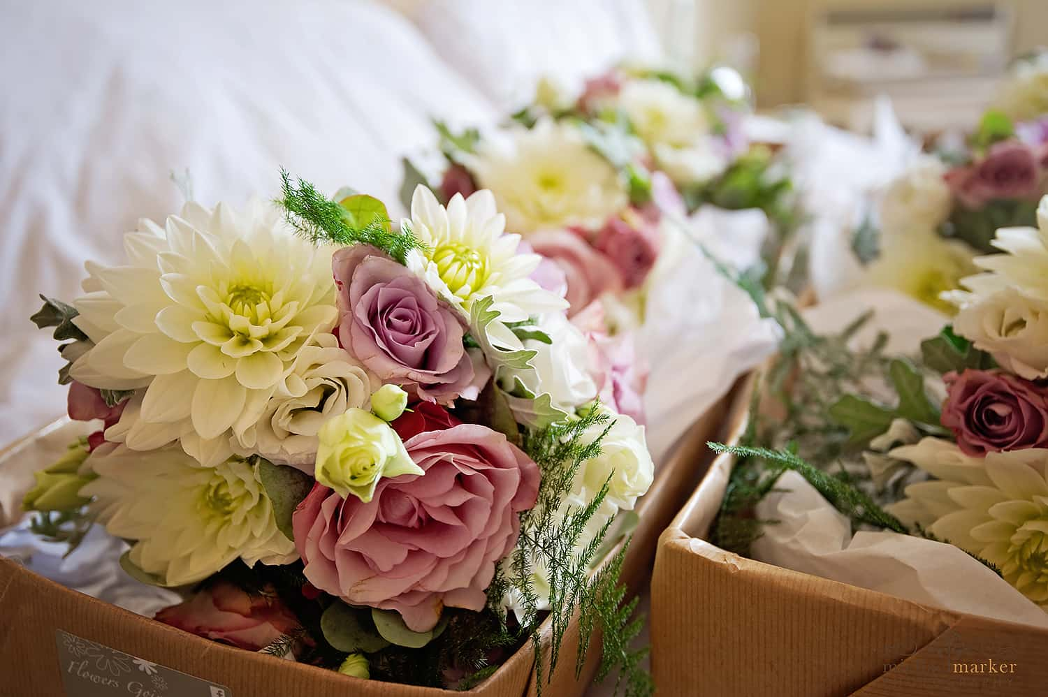 summer wedding flowers at Langdon court