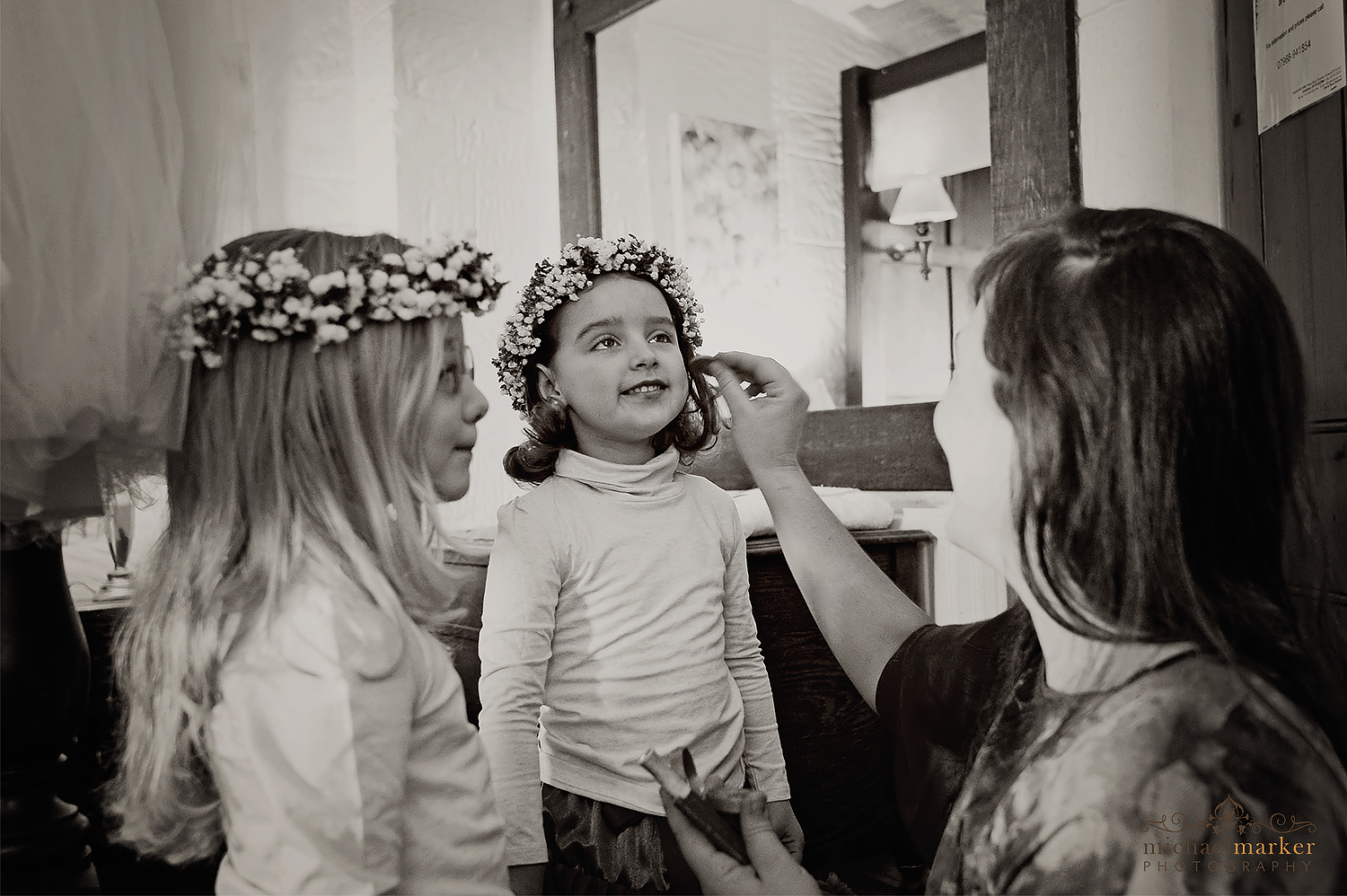 Flower girls getting ready for Cornish wedding