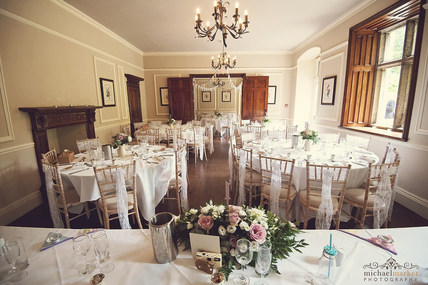 wedding reception room decorated at Langdon court