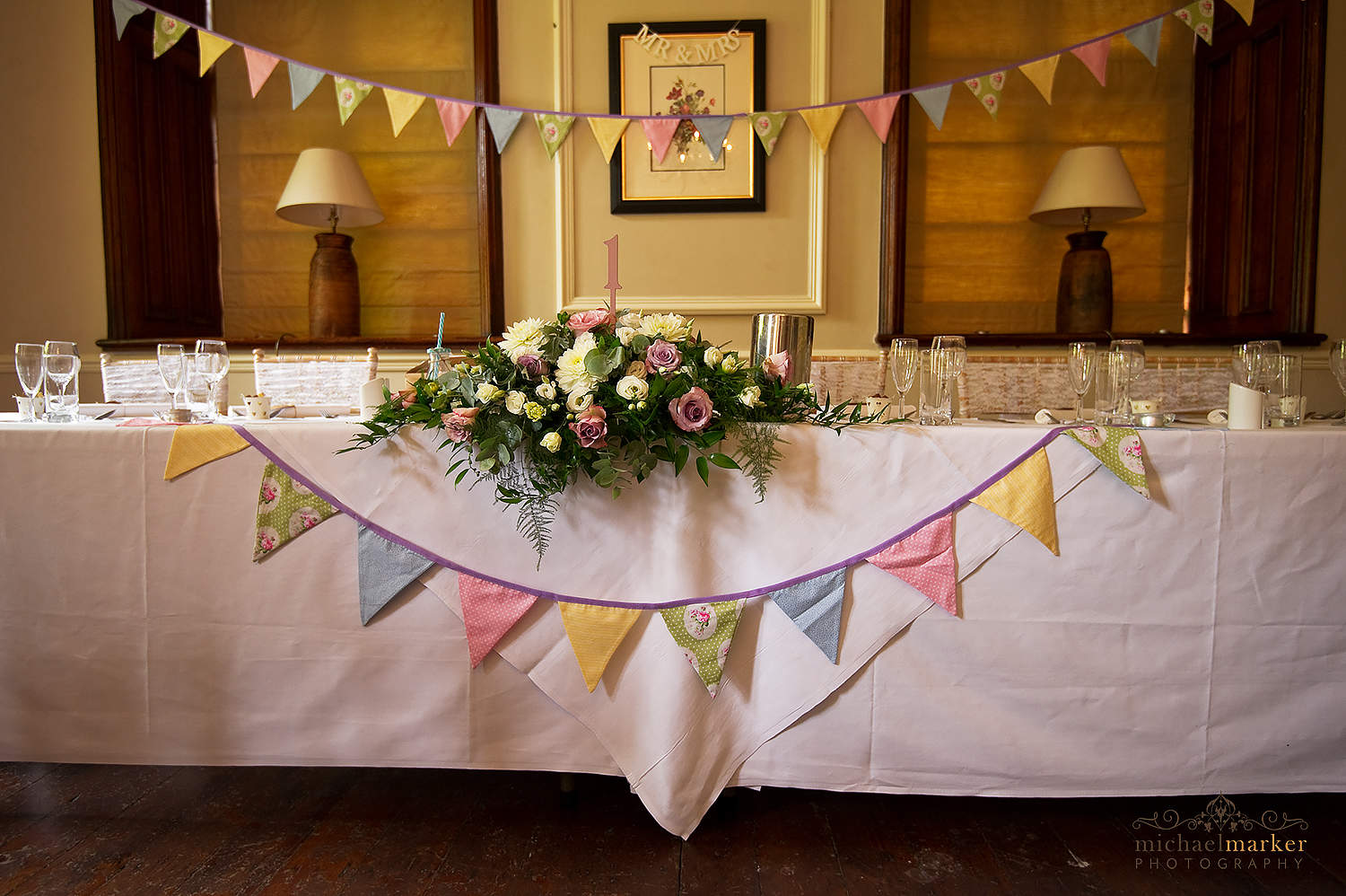 wedding top table and bunting