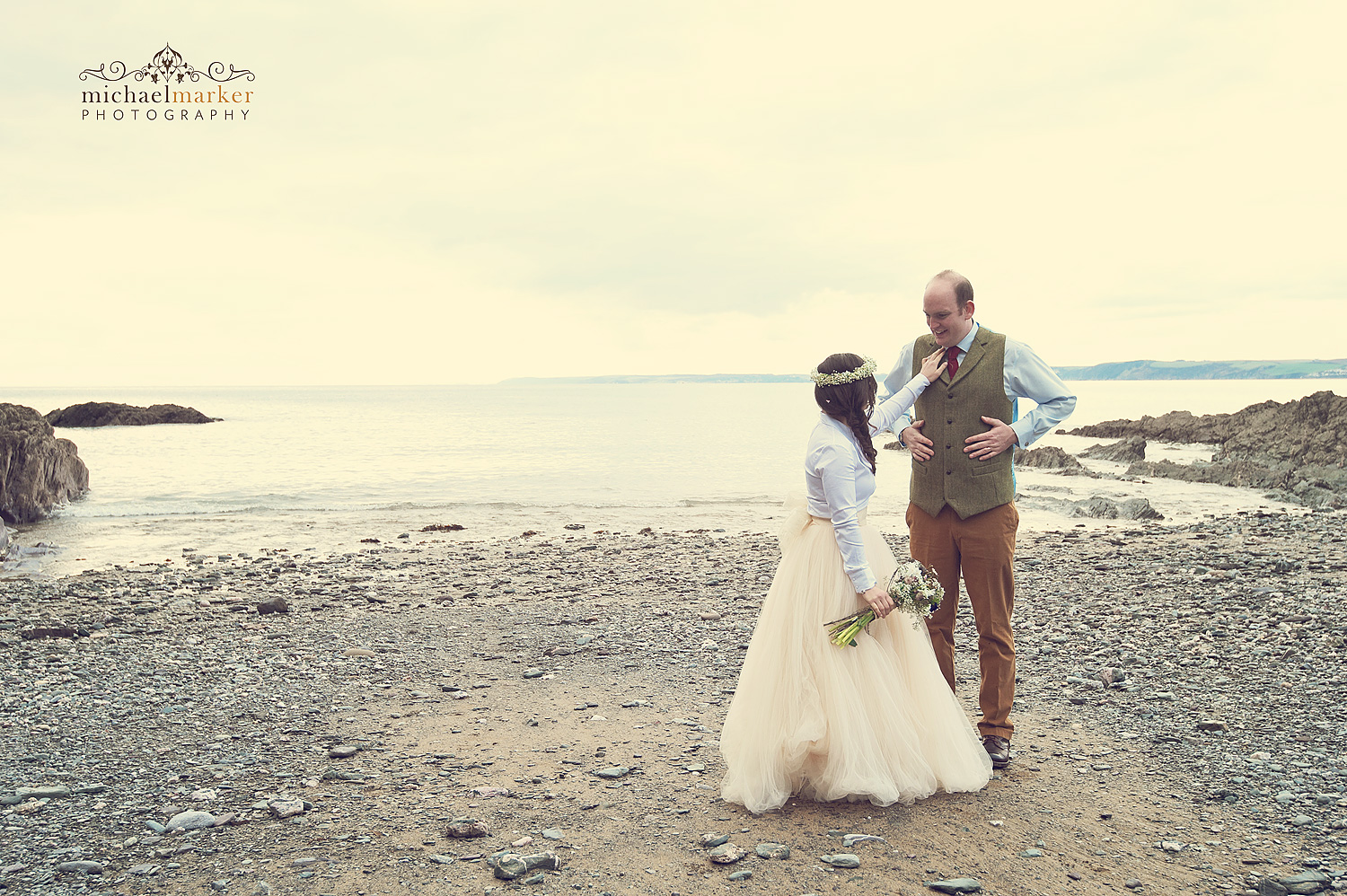 polhawn-beach-wedding-couple-sunset