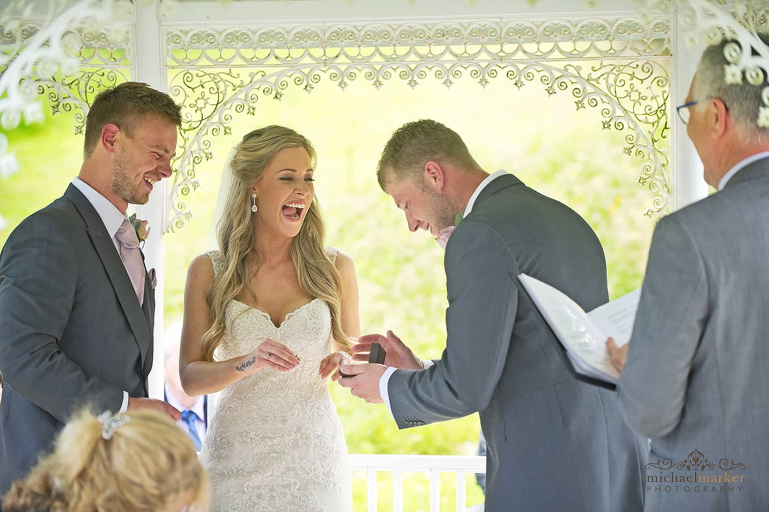 bestman with wedding rings at Langdon Court hotel wedding