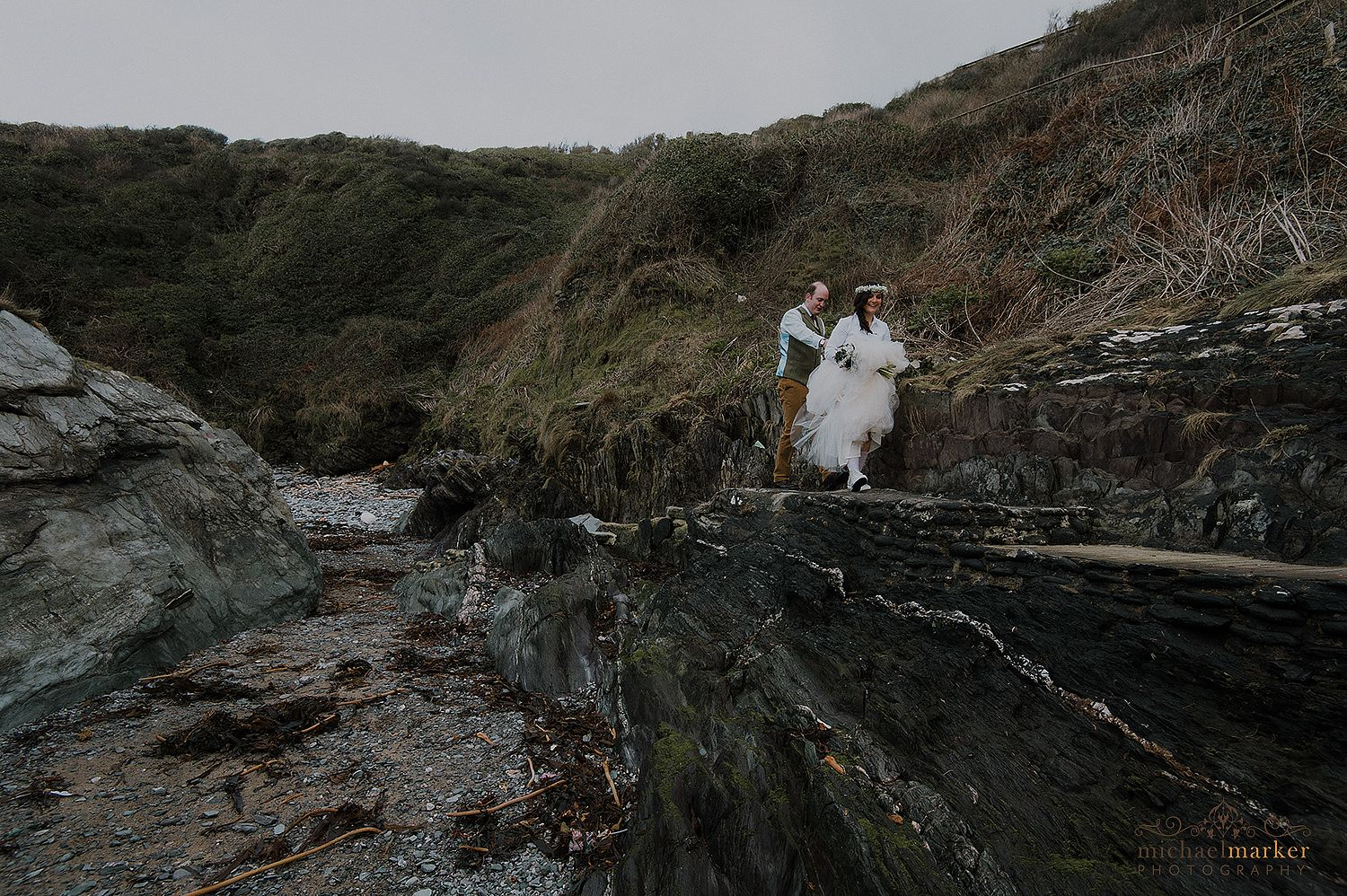 wedding-walk-on-the-cornish-beach-polhawn