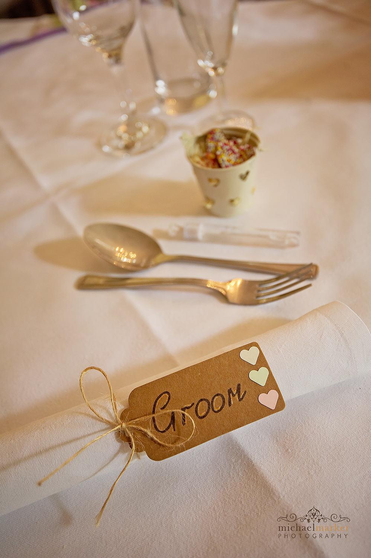 Groom's DIY table setting