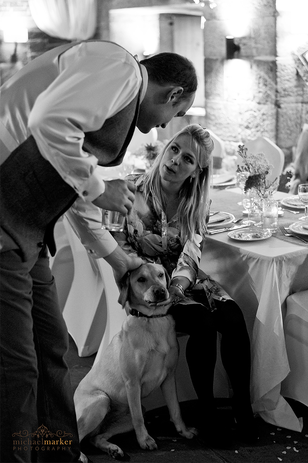 groom talking to wedding guest and patting dog