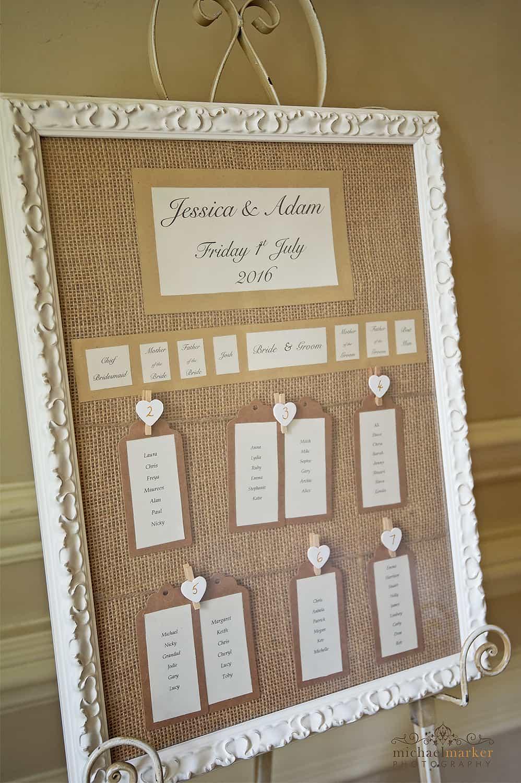 wedding table seating plan on metal easel