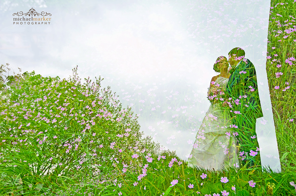 Double exposure photo of bride and groom at Lydford castle