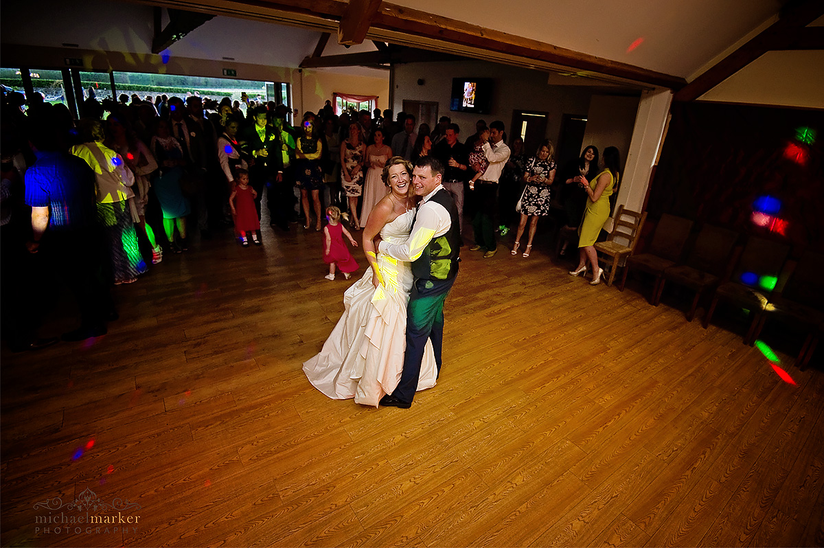 Bride and groom's first dance at devon wedding at Lydford