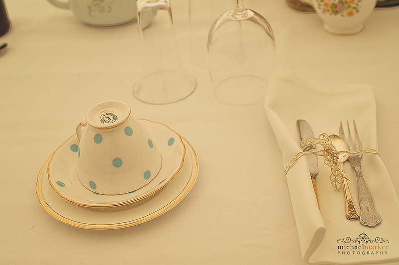 Vintage wedding china at Henley marquee wedding