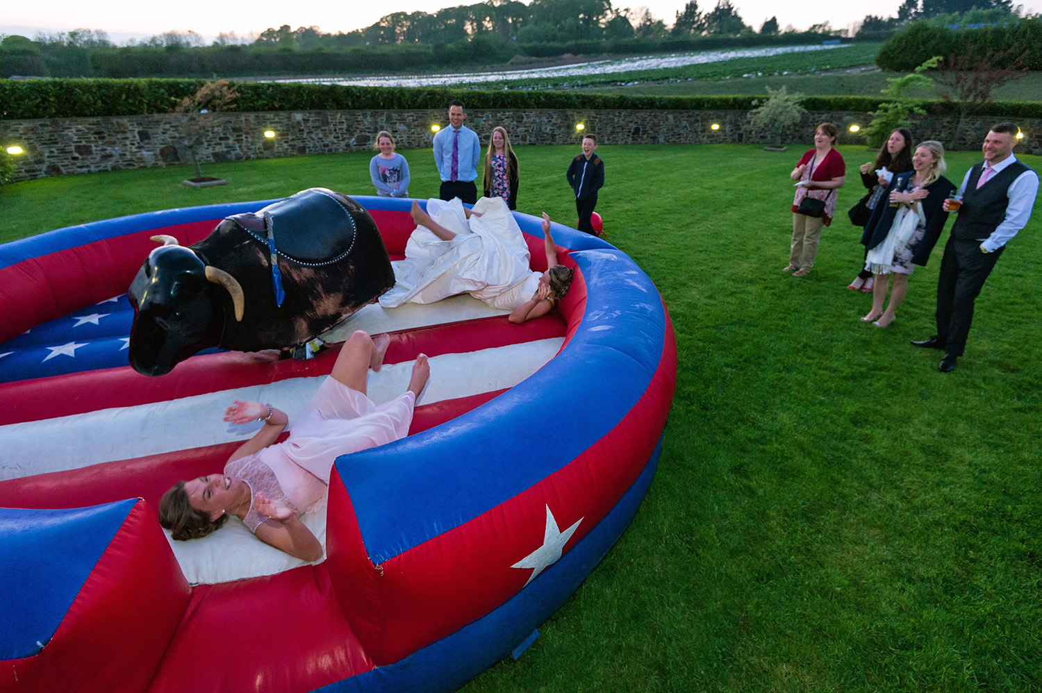 Bride and bridesmaid fall off bucking bronco at Lifton wedding in devon