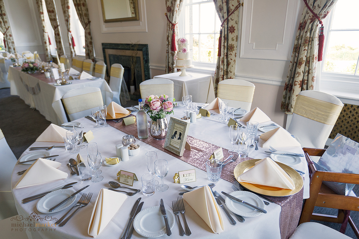 Wedding table at Tregenna Castle before the wedding breakfast