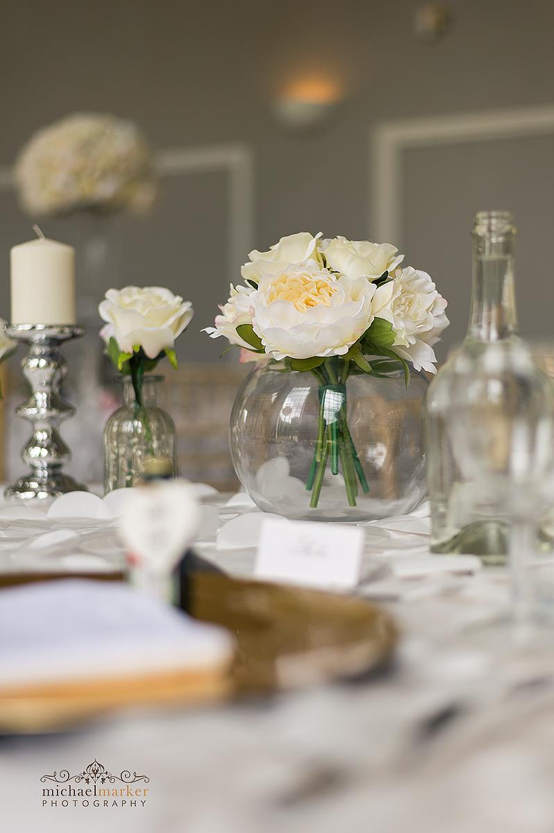 Table decoration at at Mount Edgcumbe wedding