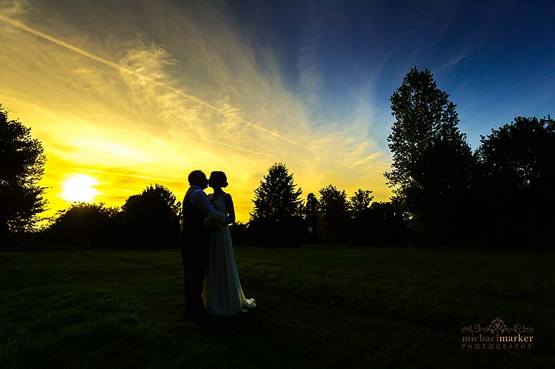 Beautiful silhouette wedding kiss in Buckinghamshire wedding photo of the week