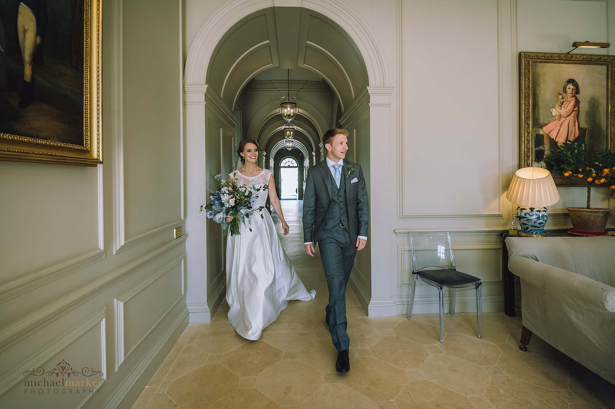 wedding couple make entrance at Shilstone House in Devon.