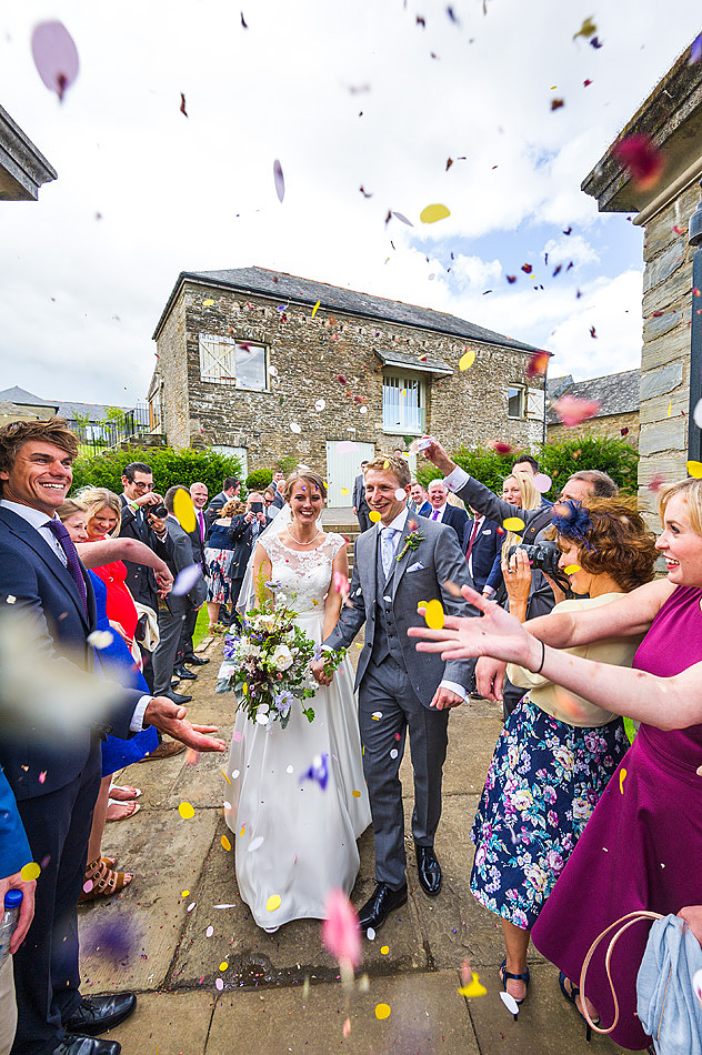 action documentary wedding confetti at Shilstone House