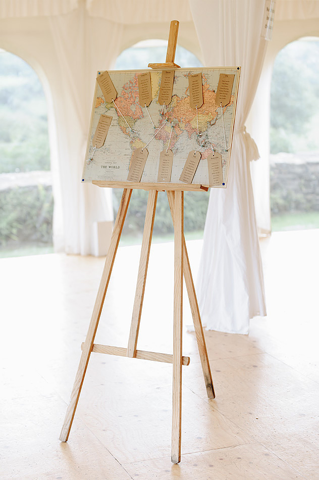 world map wedding seating plan at Shilstone House wedding in Devon