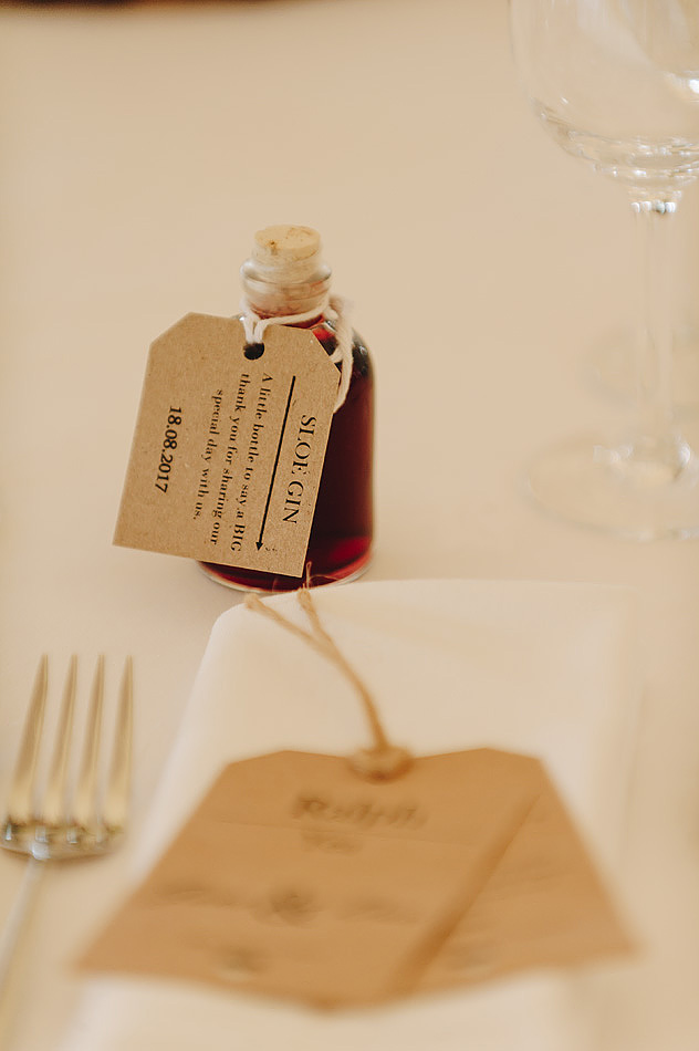 Sloe Gin weding favours at Devon country House wedding