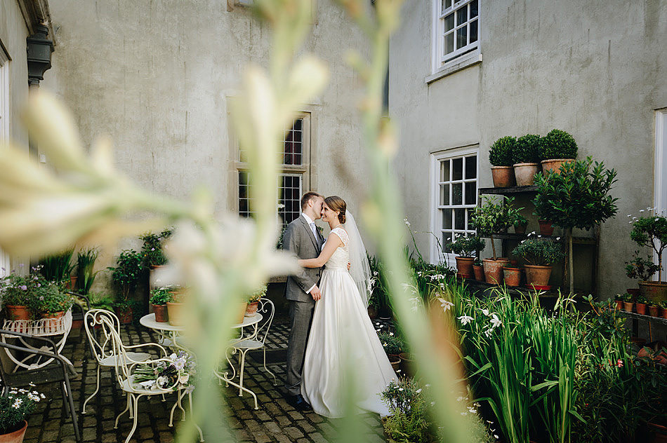wedding photos in the courtyard at Shilstone House in devon