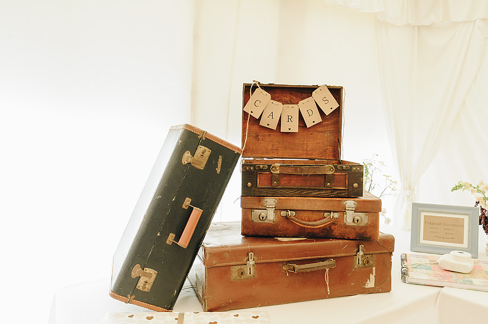 vinateg suitcase wedding table detail at shilstone House