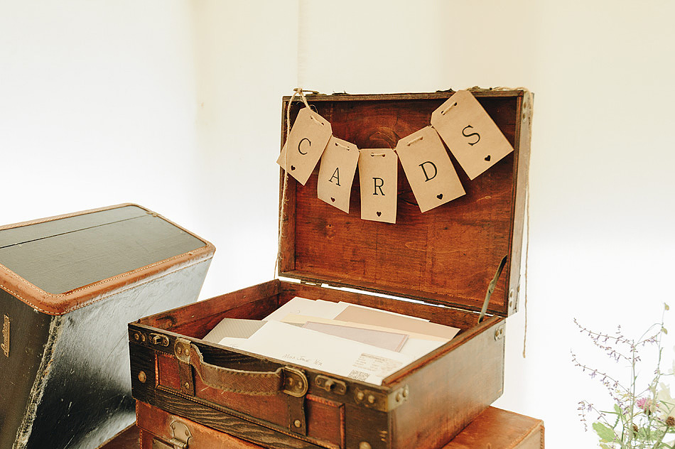 Vintage suitcase card table idea at Devon wedding