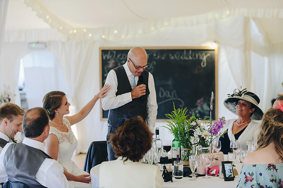 emotional moment during the father of the bride speech at Shilstone House in devon